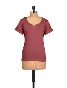 Sequinned Rust Cotton Knit Top - Myaddiction