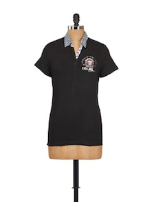 Solid Polo Cotton Knit Top - Myaddiction