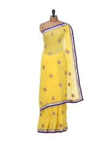 Yellow Chiffon Saree With Colour Blocked Border - Libas