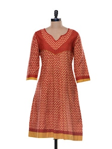 Bright Red Cotton Kurta - Libas