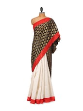Beige-black Chiffon Saree - LIME