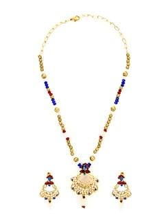 Pearl Studded Floral Necklace Set - KSHITIJ