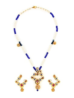 Dainty White & Blue Beads Necklace Set - KSHITIJ