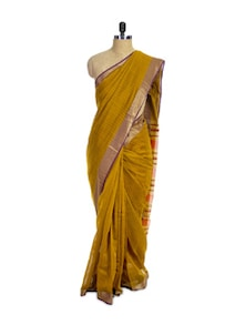 Bengal Cotton Silk Mustard Saree - Spatika Sarees