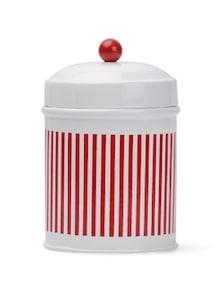 Striped Red And White Storage Jar - Deziworkz