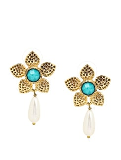 Blue And Golden Flower German Silver Earrings - KSHITIJ