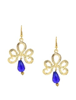Blue And Golden Handcrafted Earrings - KSHITIJ