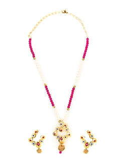 Dainty White & Pink Beads Necklace Set - KSHITIJ