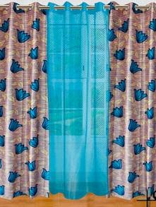 Blue Floral Curtains - Dekor World 80895