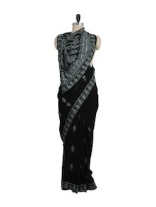 Stunning Black And White Chikankari Saree - Ada