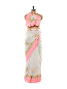 White Shimmery Saree With Light Neon Pink Border - Get Style At Home