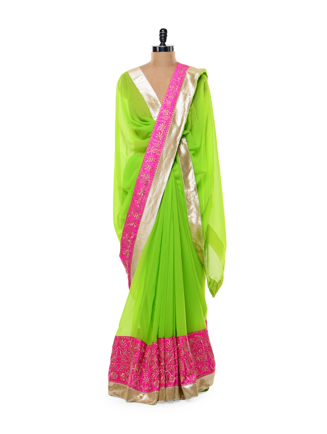 Vibrant Green And Pink Saree - Get Style At Home