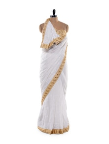 Stunning White And Gold Saree - Get Style At Home