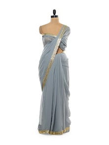 Stunning Grey Georgette Saree - Get Style At Home