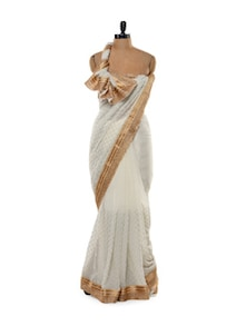 Gorgeous White Saree With Gold Border - Get Style At Home