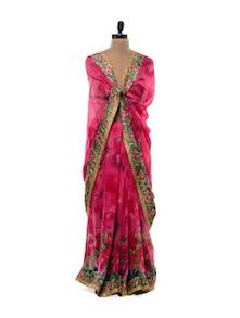Rani Pink Floral Georgette Saree - Purple Oyster