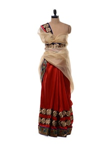 Glossy Red Cotton Silk Blend Saree With Zari Work - Purple Oyster