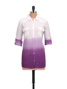 Ombre Cotton Shirt In White & Purple - House Of Tantrums