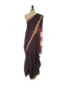 Splendid Cotton Silk Saree In Dark Brown - Spatika Sarees