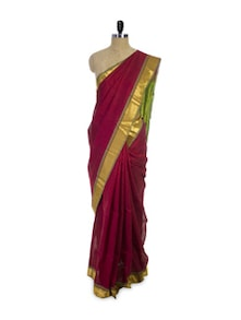 Maroon Cotton Silk Saree - Spatika Sarees