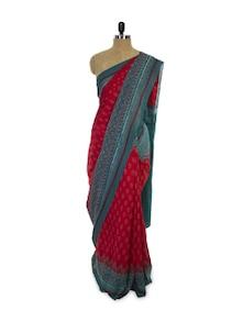 Ikat Print Cotton Saree - Spatika Sarees