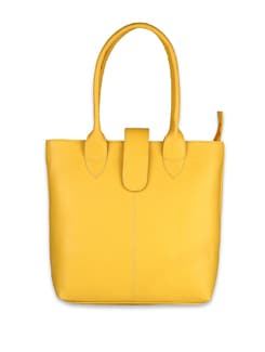 Yellow Faux Leather Tote - ALESSIA