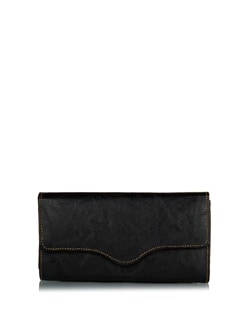Classic Black Wallet With Stitch Line Detailing - ALESSIA
