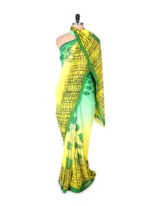 Green And Yellow Printed Faux Georgette Saree - Fabdeal