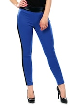 Blue And Black Slender Polyester Jeggings - Glam And Luxe
