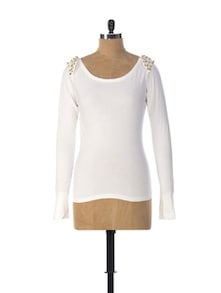 Spiked Power Shoulder White Top - Miss Chase