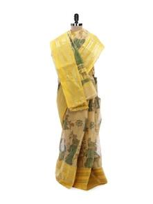 Yellow Tant Cotton Bengal Handloom Saree - Aadrika Saree