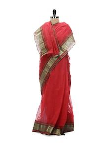 Red Tant Cotton Bengal Handloom Saree - Aadrika Saree