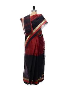Maroon And Black Tant Cotton Bengal Handloom Saree - Aadrika Saree