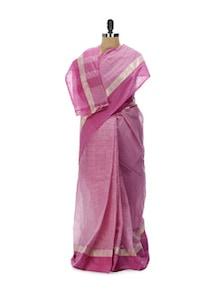 Pretty Pink Tant Cotton Bengal Handloom Saree - Aadrika Saree