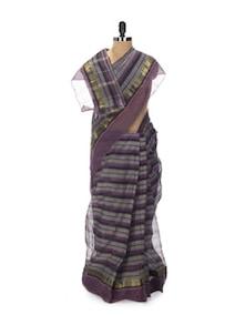 Pretty Purple Tant Cotton Bengal Handloom Saree - Aadrika Saree