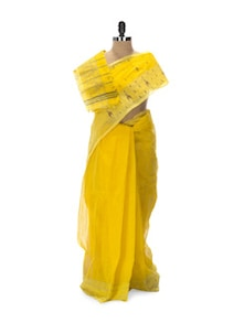 Sunshine Yellow Tant Cotton Bengal Handloom Saree - Aadrika Saree