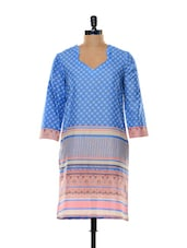Blue With Pink Border Kurti - Indidori