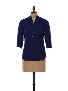 Blue Embellished Blouse Top - Kaaryah