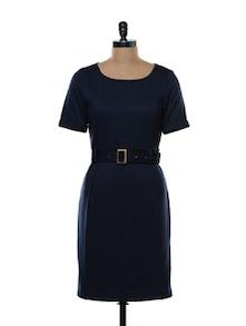 Structured Navy Blue Formal Dress - Kaaryah