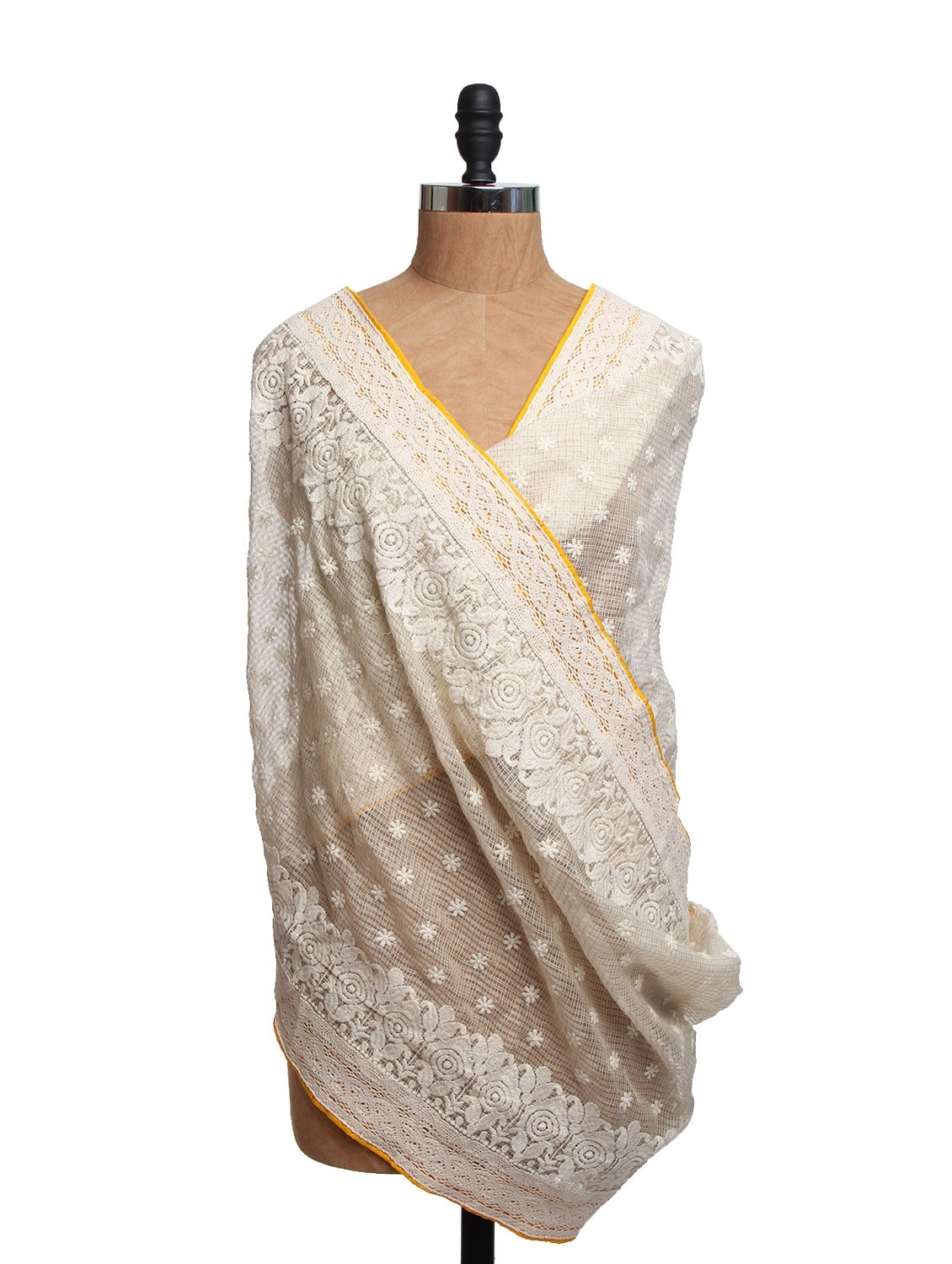 Ivory Tissue Silk Dupatta With Yellow Piping And Cotton Lace - Dupatta Bazaar