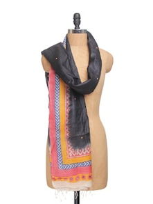 Black Printed Tussar Silk Dupatta With Mirror Work - Dupatta Bazaar
