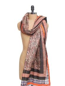 Block Printed Ghicha Silk Dupatta With Mirror Work - Dupatta Bazaar