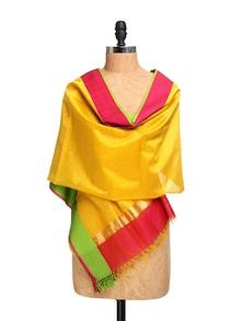 Yellow Chanderi Silk Dupatta With Zari - Dupatta Bazaar