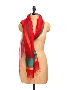 Red Chanderi Silk Dupatta With Zari - Dupatta Bazaar