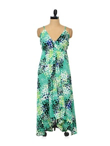 Printed A-line Beach Dress - Kinaraa