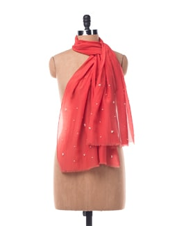 Cotton Silk Red Scarf With Pearls - Chalk N Cheese Lifestyles