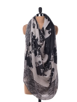 Zebra And Flower Print With Black Tassels Woollen Scarf - Chalk N Cheese Lifestyles