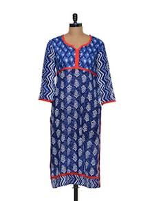 Printed Cotton Kurti In Blue - Arya Fashion