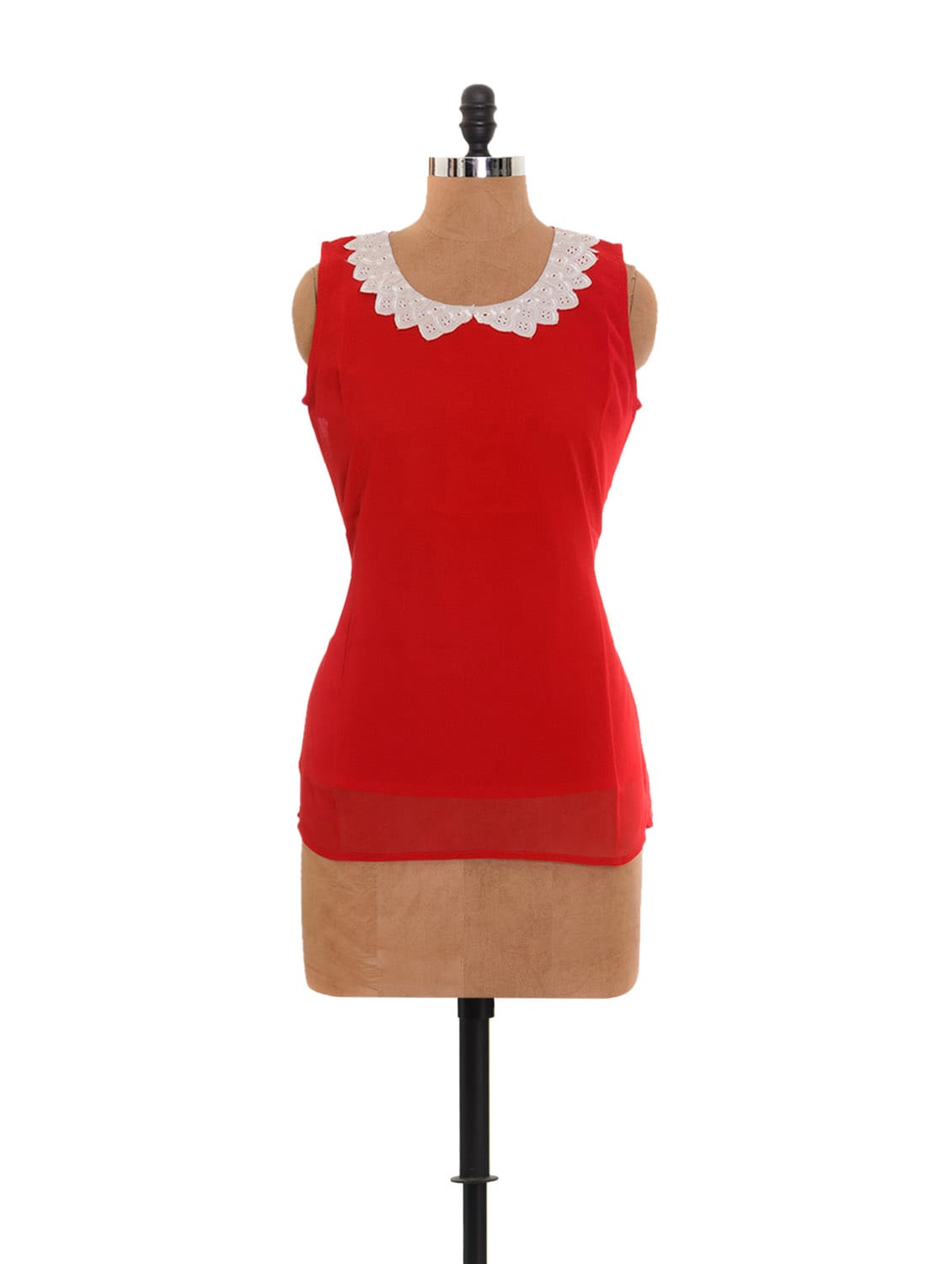 Red Top With Lacy Collar - Xniva