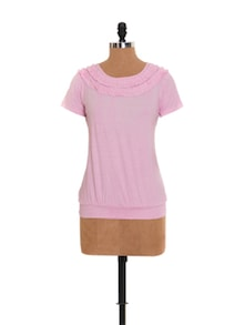 Baby Pink Top With Ruffled Neckline - Xniva